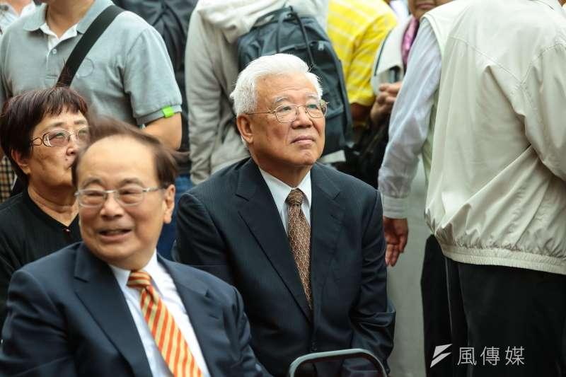 尤清出席蔡英文競選總部成立大會。(顏麟宇攝)