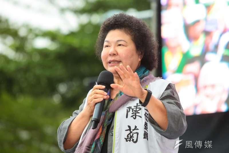 蔡英文競選總部主委陳菊出席說「給被關過的民進黨一個公道 」,要綠營群眾集中選票給民進黨。(資料照,顏麟宇攝)