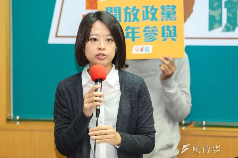 國發會辦公室主任江怡臻出席草協舉辦「革新游擊計畫」記者會,由青年串聯針對國民黨提出改革訴求。(顏麟宇攝)