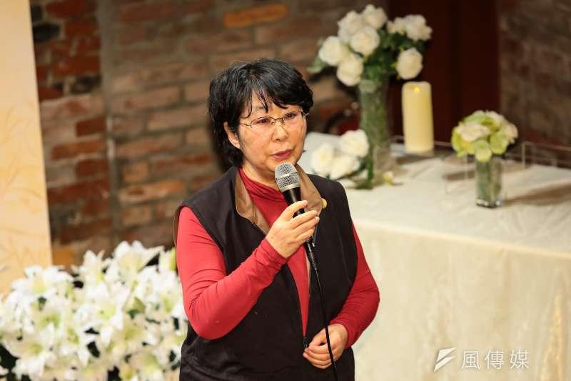 日本東京的台灣慰安婦支援團體代表柴洋子於小桃阿嬤追思會上出席致詞。(顏麟宇攝)