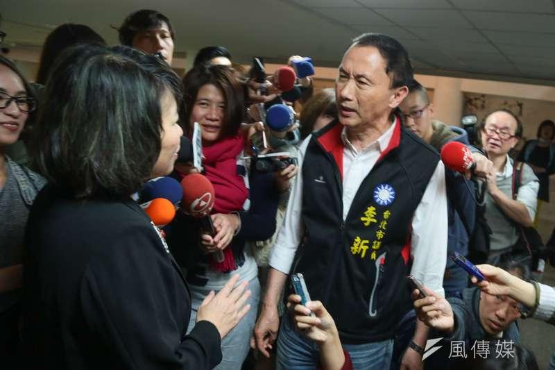 國民黨主席參選人李新議員出席台北市婦團挺國民黨大會,嗆代理主席黃敏惠退選。(顏麟宇攝)