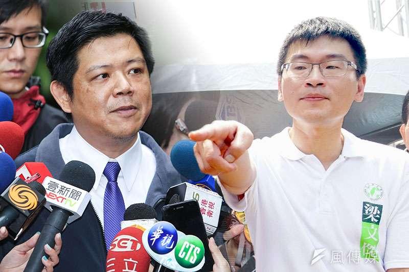 潘建志(林韶安攝)與梁文傑(蘇仲泓)都爭取在台北市中山區參選,兩人近來針鋒相對。(鄭力瑋合成)