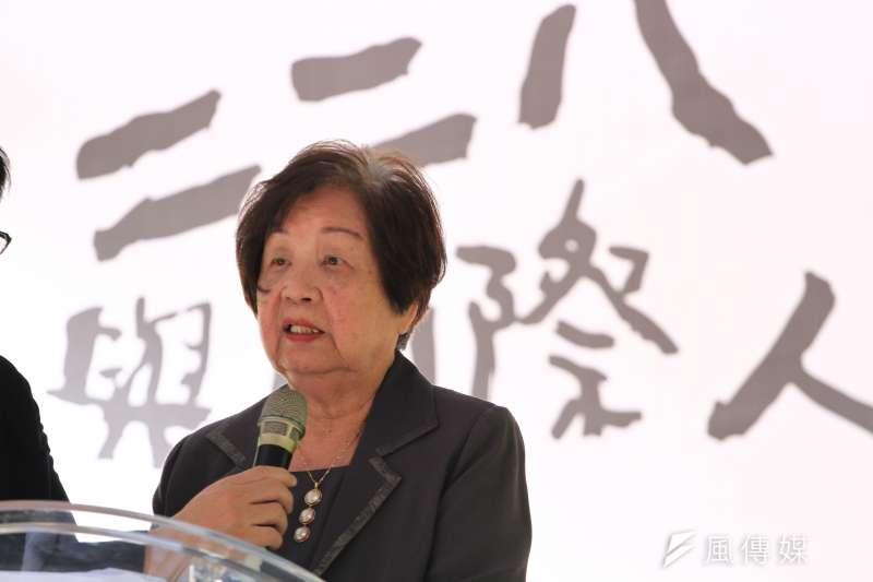 二二八與國際人權特展開幕記者會,二二八受難者陳炘家屬高陳雙適致詞。