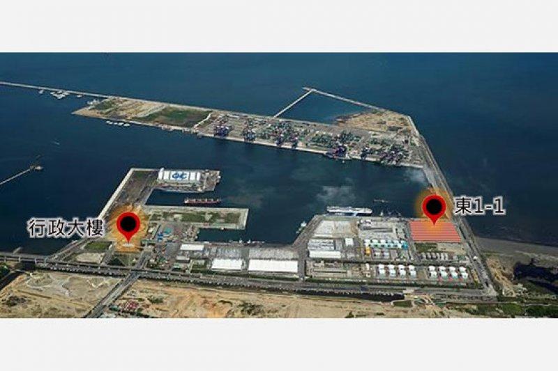 海運貨物快遞專區位置圖。資料來源:臺灣港務股份有限公司