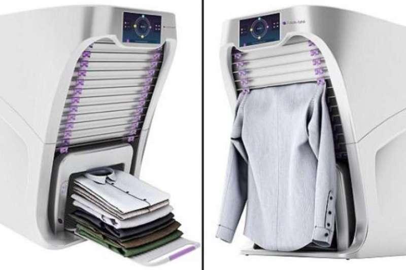 很多人覺得洗衣服最痛苦的地方,就是洗完還要一件一件折。深受困擾的他,於是發明了一部「自動摺衣神器」,6秒就能完美折好一件衣服!(圖/智慧機器人網)