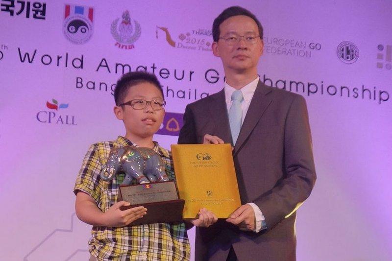 我13歲好手賴均輔贏得本屆世界業餘圍棋錦標賽第三名。