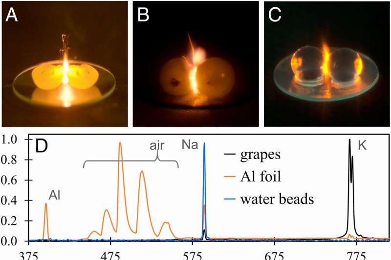 早在1990年代,網路上就盛傳了一顆切成兩半的葡萄在微波爐中加熱而產生火焰的影片,但科學家們始終無法找出背後的原因,直到近日,加拿大物理學家艾倫.史萊普科夫發表了一篇研究論文,成功解釋了這個奇異的現象。(圖/截自Linking plasma formation in grapes to microwave resonances of aqueous dimers @PNAS)