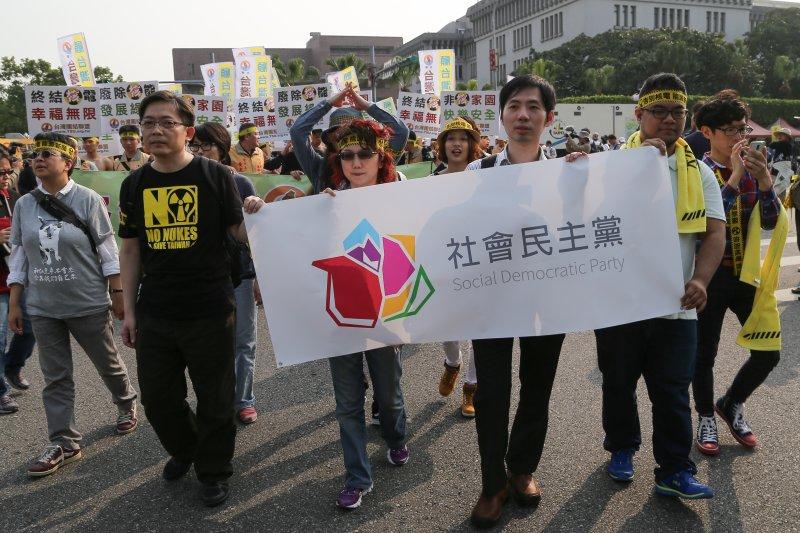 2015台北廢核遊行,社民黨召集人范雲(中)。(楊子磊攝)