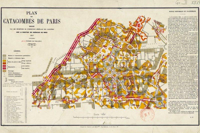 1858年開放參觀的區域地圖(圖/Inspection Générale des Carrières)