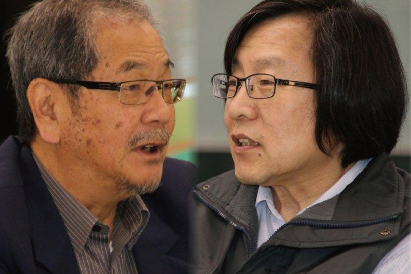 民進黨中國事務委員會開會,難得看到兩位前祕書長吳乃仁(左)、邱義仁(右)出席。(民進黨聯誼會提供,風傳媒合成)