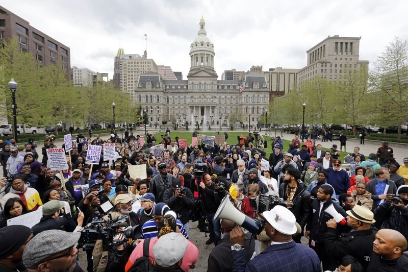 巴爾的摩民眾抗議警察暴力、種族歧視