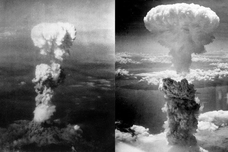 廣島(左)與長崎(右)的原子彈蕈狀雲。(維基百科)