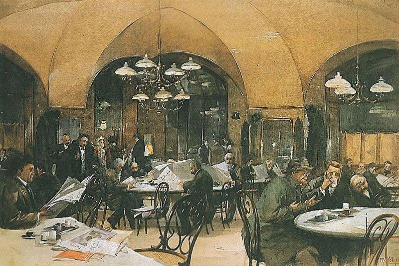 (1896年的維也納咖啡館,是十九世紀歐陸文青生活的重心 。圖片來源: Café Griensteidl)