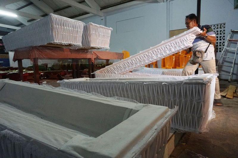 印尼當局為死囚準備的棺木