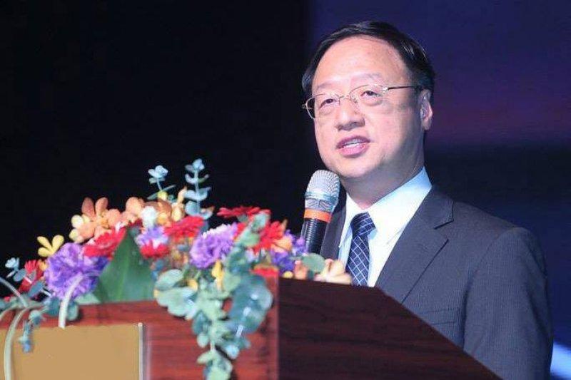 前行政院長江宜樺27日到香港發表演說,談「儒家與現代政治」。(亞太台商聯合總會臉書)
