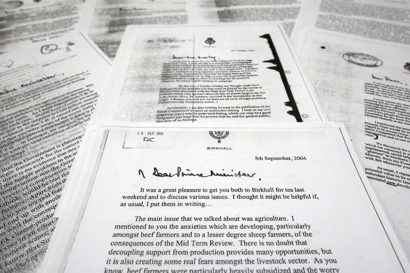 英國查爾斯王儲的黑蜘蛛備忘錄13日公開。(美聯社)