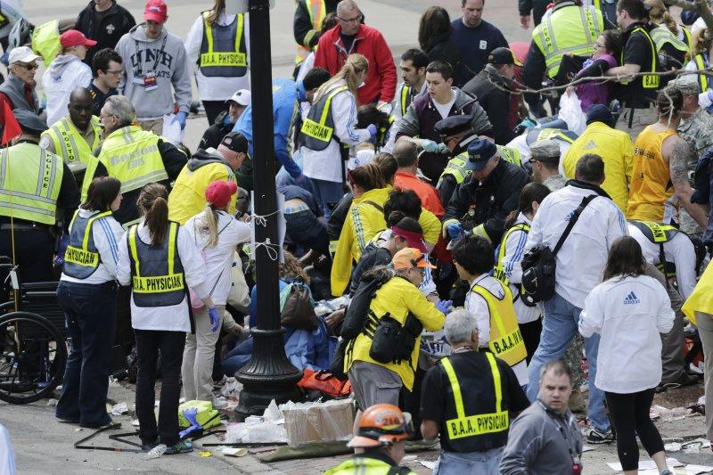 波士頓馬拉松爆炸案。(美聯社)