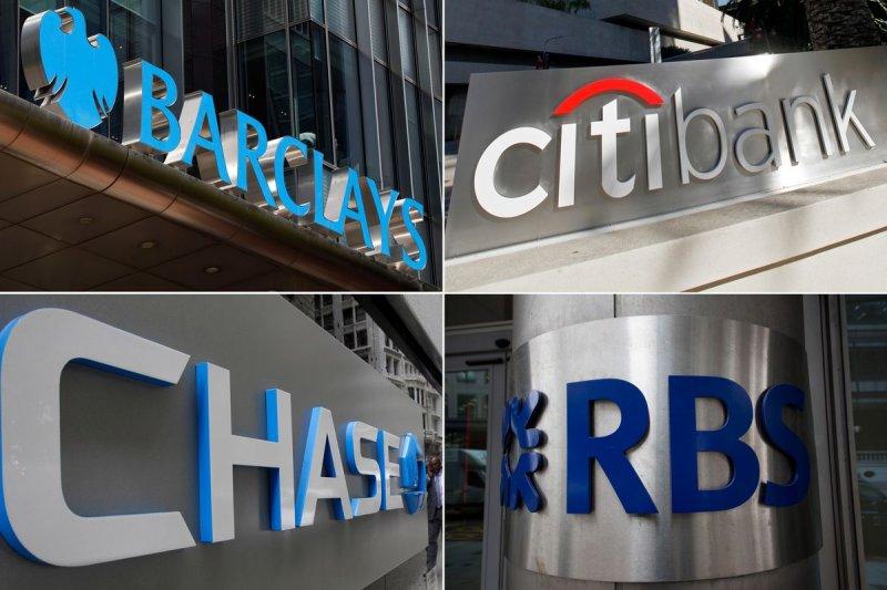 遭到鉅額罰鍰的英美銀行業鉅子,左起逆時針:巴克萊、摩根大通、皇家蘇格蘭銀行、花旗銀行。(美聯社)