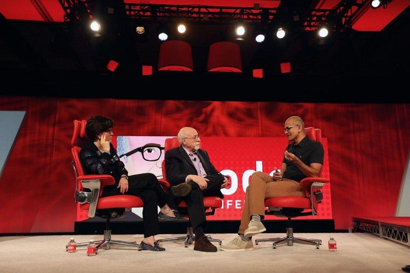 前華爾街日報記者莫斯伯格(Walt Mossberg,中)和史威瑟(Kara Swisher,左)共同創辦的科技部落格Re/code