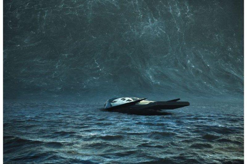 一堵超大巨浪往「漫遊者號」 當頭襲來。(擷自《星際效應》畫面,華納兄弟娛樂公司提供)