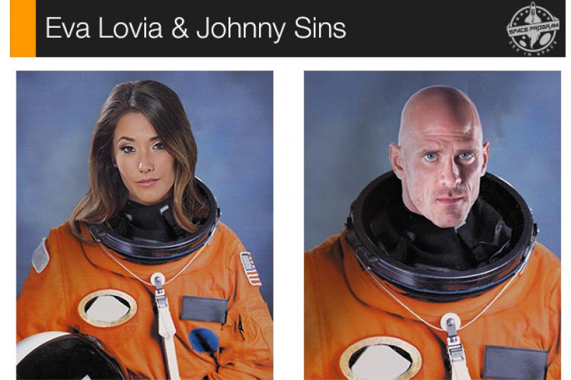 Eva Lovia和Johnny Sins計劃上太空拍攝情色電影。(取自騰訊科技網)