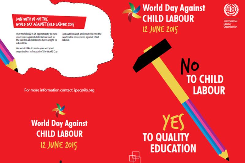 今年全球反童工日的主題「對童工說No,對高品質教育說Yes」。