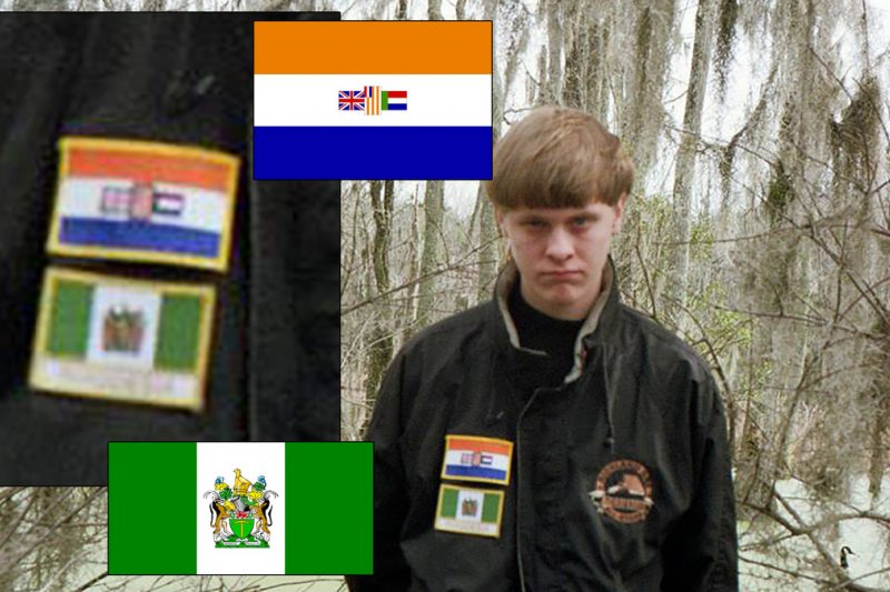 魯夫臉書網頁上一張照片,他穿著一件外套,上面有兩幅國旗,分別是種族隔離時期的南非與辛巴威(舊名「羅德西亞」)。