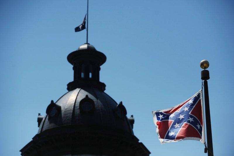 南卡羅來納州議會外面樹立的邦聯旗(Confederate flag)