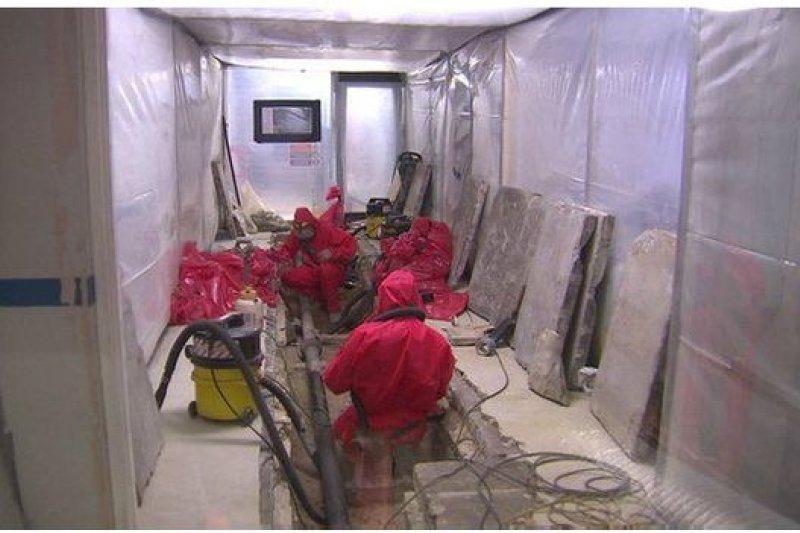 地下室的一些有害石棉去年被拆除移走。(BBC中文網)