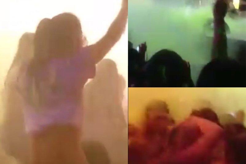 八仙樂園彩虹派對,許多帥哥辣妹正在跳舞,突然驚現火光,眾人大喊著火了。(取自網路)