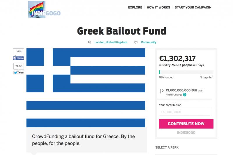 indiegogo的希臘募款頁面。