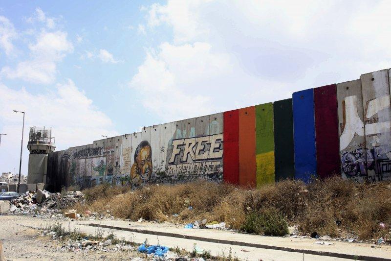 中東地區的巴勒斯坦是唯一可以看見彩虹旗幟的地方。(美聯社)