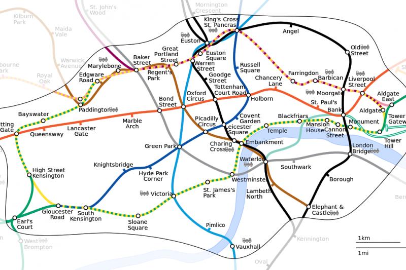 倫敦地鐵圖。(維基百科)
