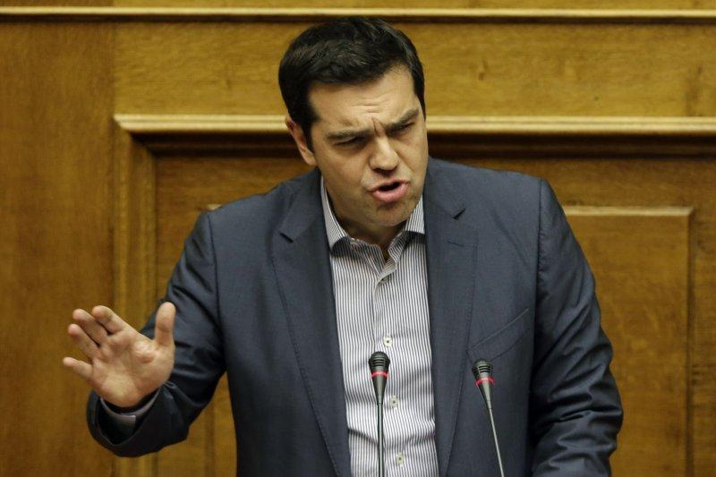 齊普拉斯在希臘國會演說。(美聯社)