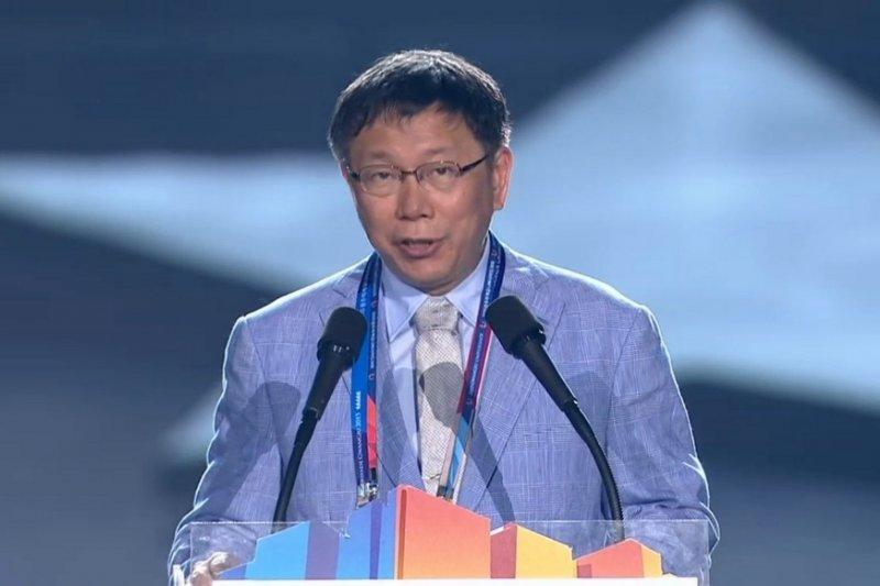 台北市長柯文哲14日晚間參加韓國光州世界大學運動會閉幕典禮,並以英文發表演說。(台北市政府提供)
