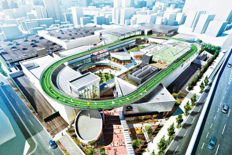 日本大阪森之宮Q's Mall在商場頂樓打造了一個環形天空跑道。(圖/Q