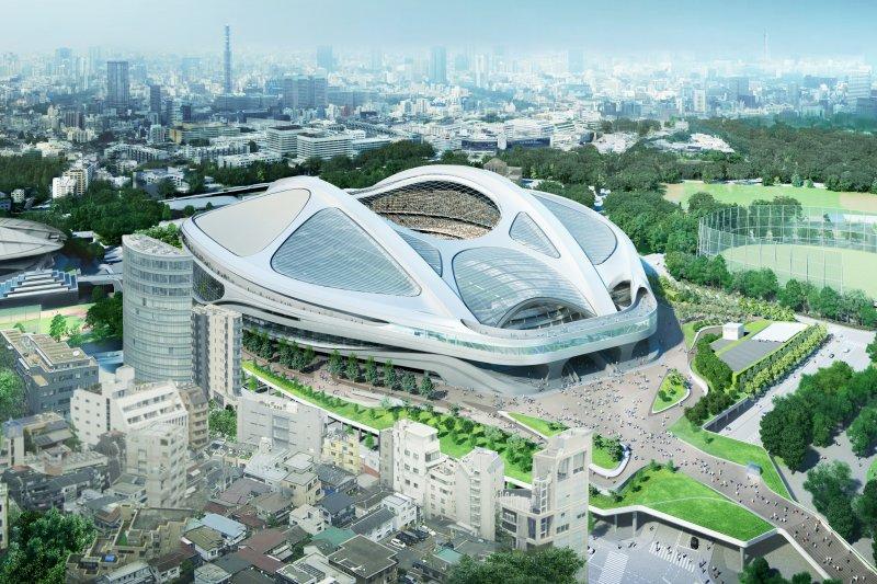 東京奧運主場館「新國立競技場」。(美聯社)