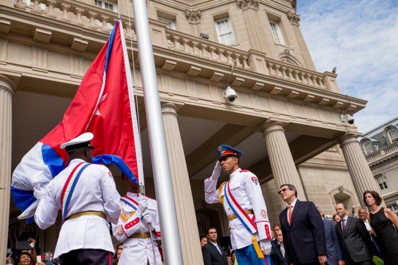 古巴駐美國大使館的升旗典禮(美聯社)