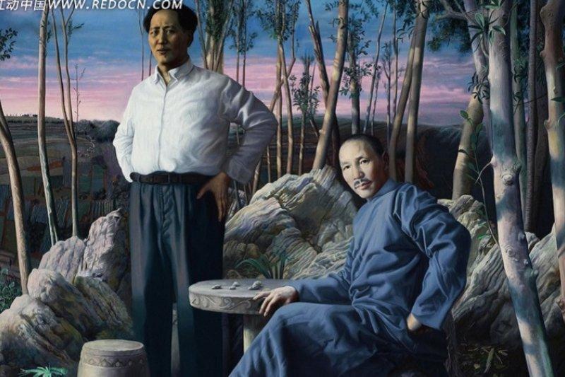 蔣介石和毛澤東畫像。(取自紅動中國網)