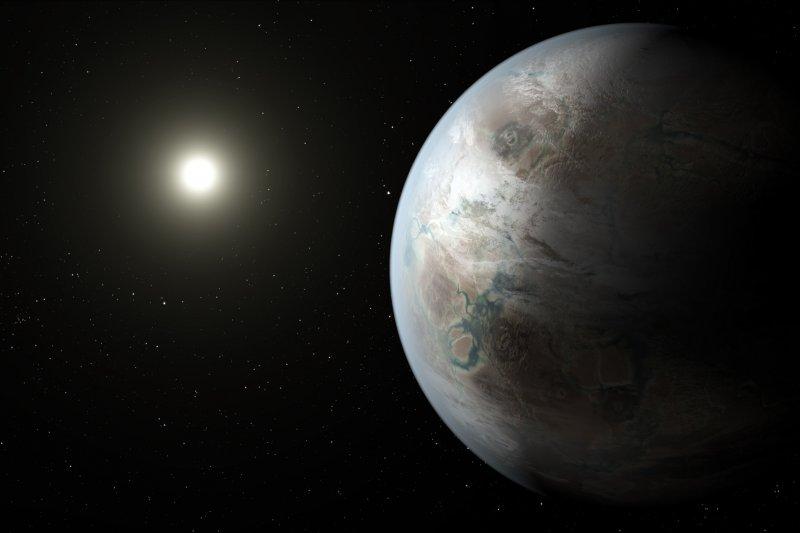行星Kepler-452b(右)與其恆星Kepler-452的想像圖(NASA)