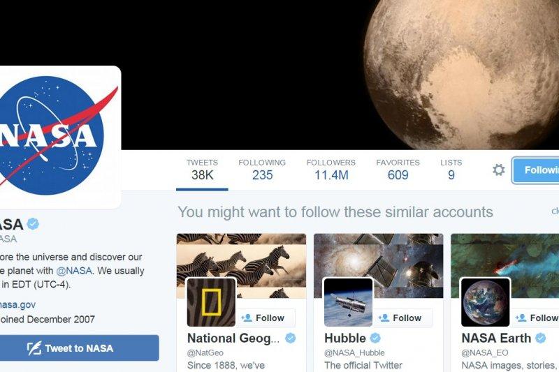NASA的推特網頁