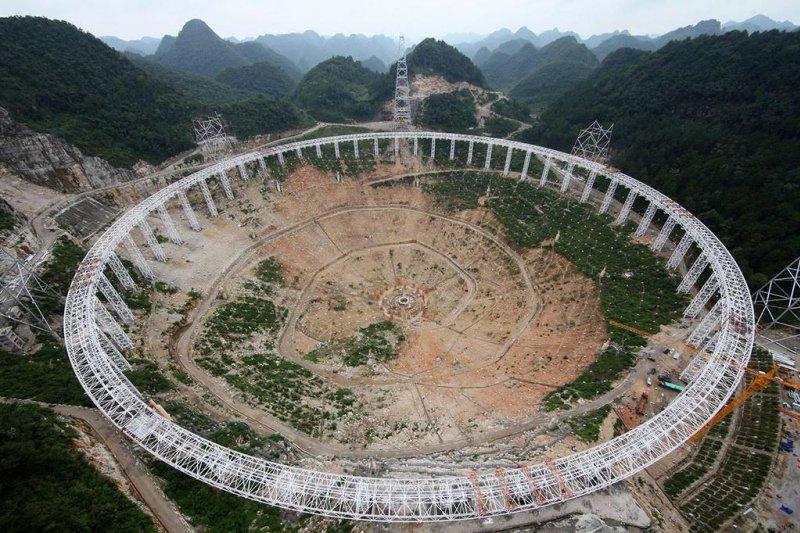 全球最大的電波望遠鏡FAST位於中國貴州,預計2016年完工啟用。(取自推特)