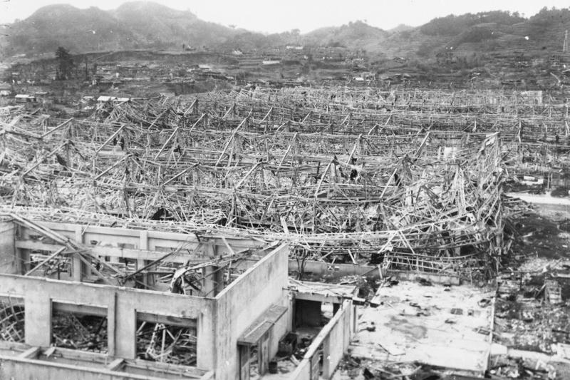 三菱長崎兵器製作所承受原爆後的慘狀。(長崎原爆資料館)