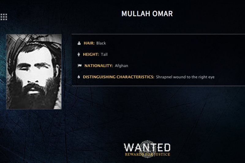 阿富汗神學士(Taliban)最高領導人歐瑪爾(Mullah Mohammed Omar)的通緝令(美聯社)