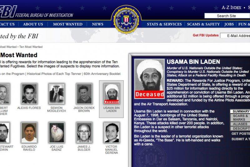 賓拉登在2011年遭到擊殺後,FBI曾在官網宣告他的死訊。(維基百科)