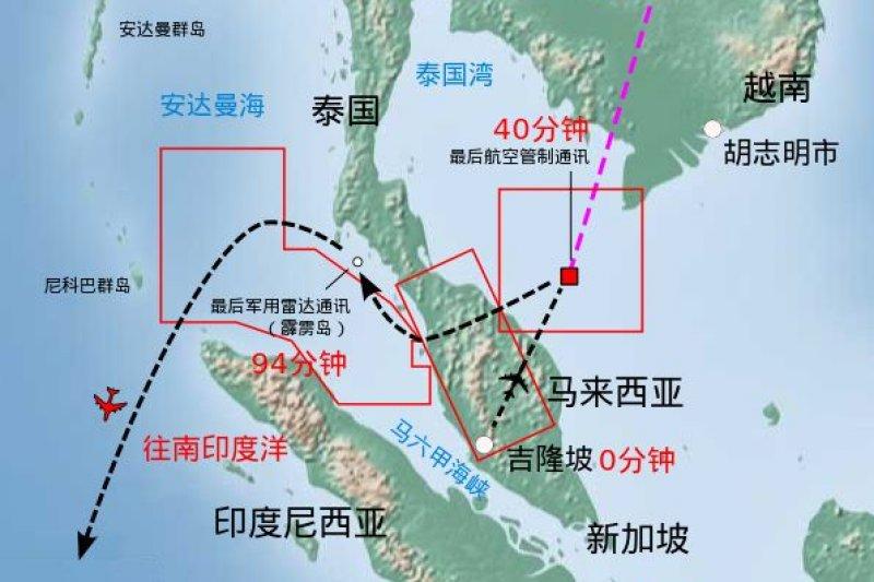 馬來西亞航空MH370班機可能航線圖(維基百科)