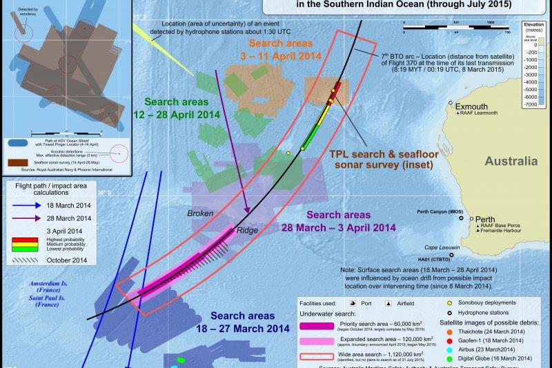 馬來西亞航空MH370班機可能墜毀海域(維基百科)