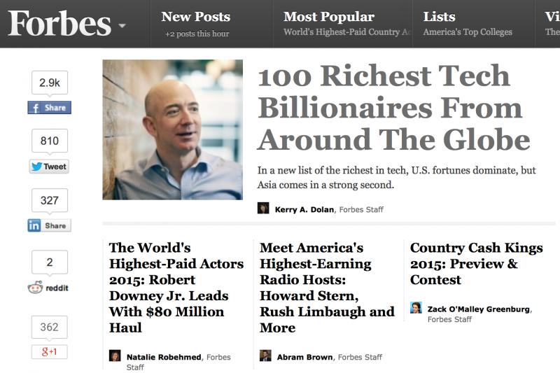 《富比世》全球百大科技富豪出爐,亞馬遜執行長貝佐斯名列第三。(翻攝富比世官網)
