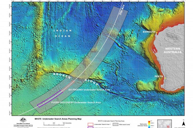 MH370搜尋海域(澳洲ATSB)