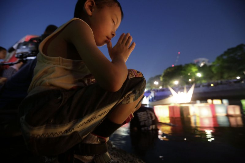 日本廣島市6日紀念原爆70周年活動。(美聯社)